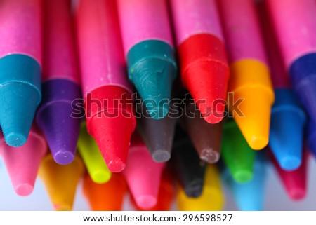 Colorful pastel crayons, closeup - stock photo