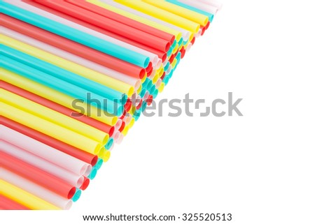 Colorful pastel straws on white background - stock photo