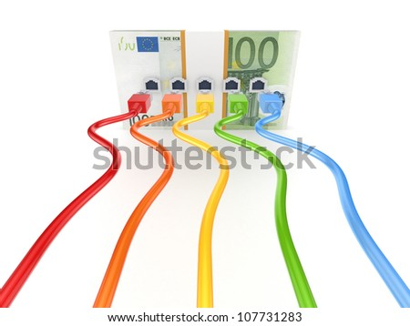 Colorful patchcords connected to  pack of euro.Isolated on white background.3d rendered. - stock photo