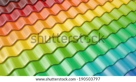 Colorful pattern of roof tile 3D. Architecture detail - stock photo