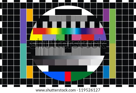 colorful pattern tv screen test - stock photo