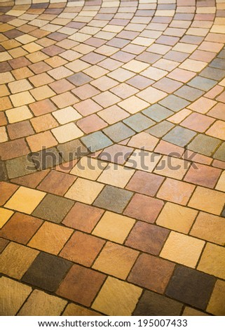 Colorful patterns on a tile fllor for background and texture - stock photo