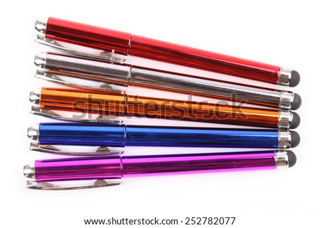 colorful pen isolated on white background - stock photo
