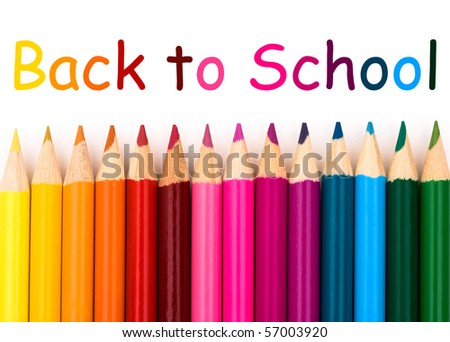 Colorful pencil crayons on a white background, Back to school - stock photo