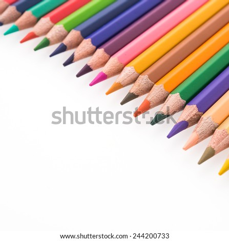 Colorful pencil isolated on white background - stock photo