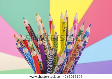 Colorful pencils. All color draw pencils with multicolor background. - stock photo