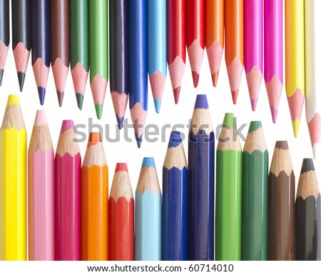 colorful pencils isolated on white - stock photo