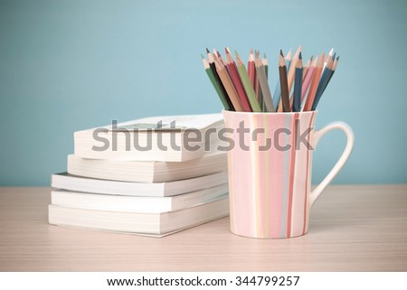 Colorful pencils on the background - pastel effect style picture - stock photo