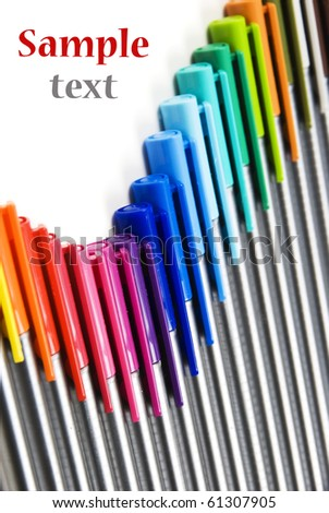 Colorful pens abstract backround with space for text - stock photo