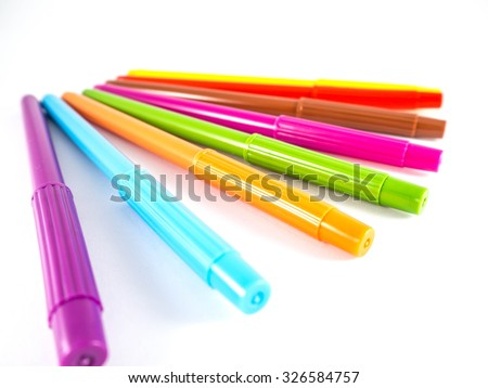 Colorful pens isolated on white background, isolated object. - stock photo