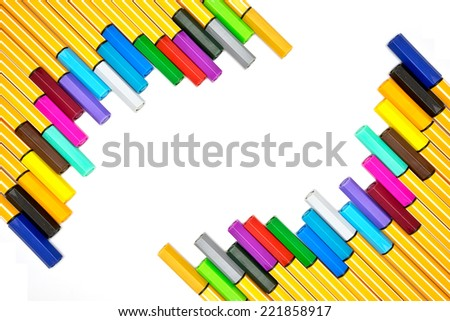 Colorful pens on isolated white background - stock photo