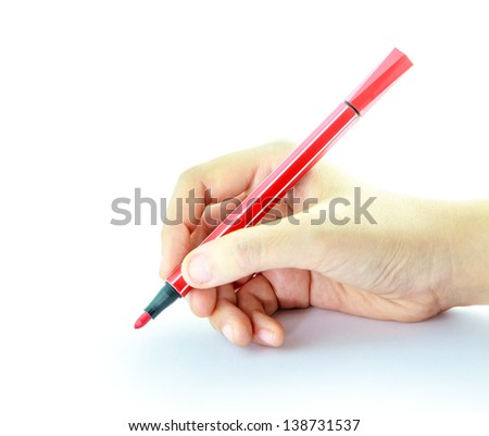 Colorful pens with hand holding on white background - stock photo