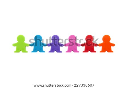 Colorful people figures standing in a row with clipping path. - stock photo