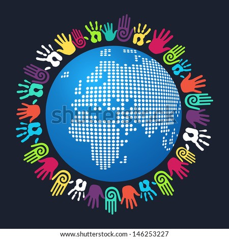 Colorful people hand around Europe and Africa world map. - stock photo