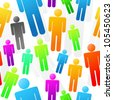 Colorful People Seamless Background Texture - RASTER version - stock photo