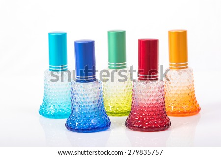 colorful perfume bottle package - stock photo