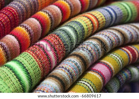 Colorful , peruvian rug textile. - stock photo