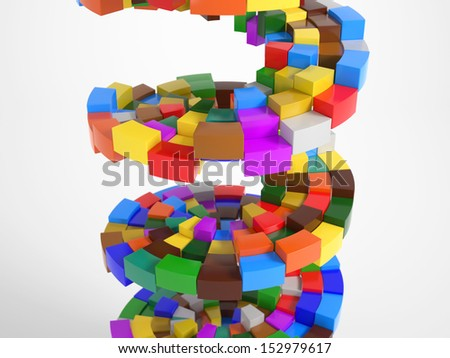 Colorful Pieces building a circular stairway with obstacles - stock photo