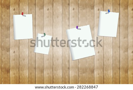 colorful pin with blank empty note card on wooden wall. Important information message, reminder, to do list, announcement, decoration idea background template - stock photo