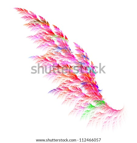 Colorful pink angel wing. Fractal graphics - stock photo