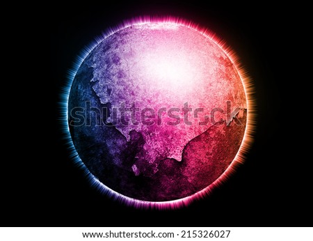 Colorful planet earth on dark background - stock photo