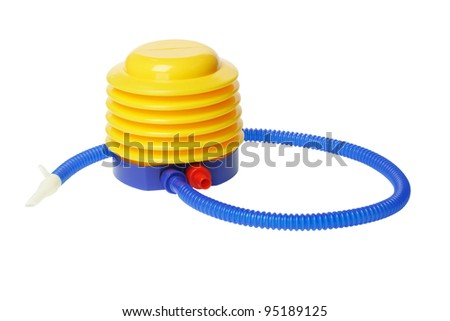 Colorful Plastic Air Pump on White Background - stock photo