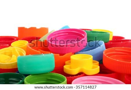 Colorful plastic bottle caps - stock photo