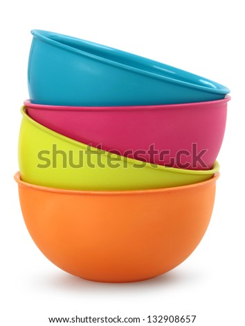 colorful plastic bowls - stock photo