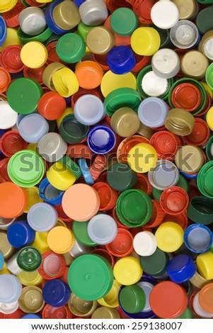 Colorful Plastic Caps Background Texture - stock photo