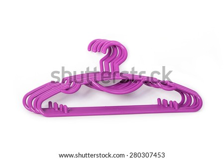 Colorful plastic clothes hanger - stock photo