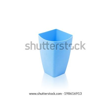 colorful plastic mug  isolated on white background - stock photo