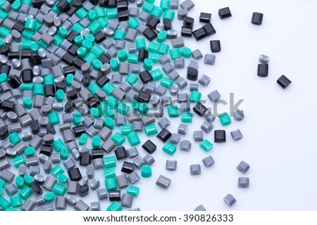 Colorful plastic polymer granules - stock photo