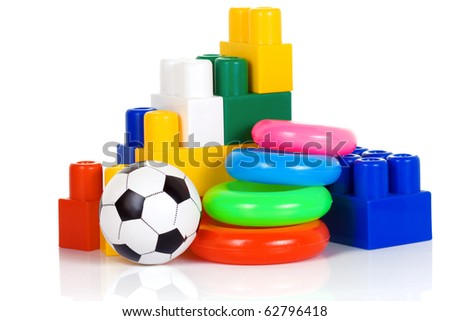 colorful plastic toys isolated on white - stock photo