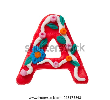Colorful plasticine letter A isolated on a white background  - stock photo