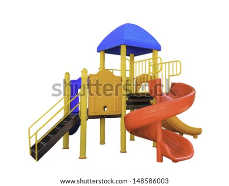 colorful play ground isolated on white background with clipping path - stock photo