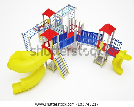 Colorful playground for children. Isolated on white background - stock photo