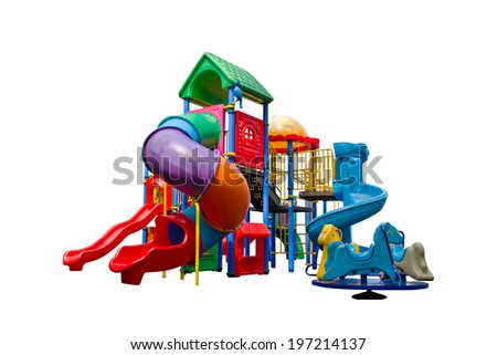 Colorful playground isolated on white background - stock photo