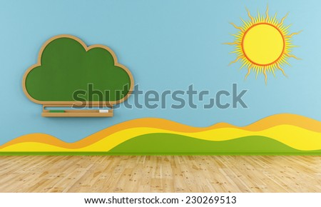 Colorful Playroom with cloud chalkboard on blue wall - 3D Rendering - stock photo