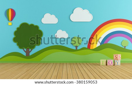 Colorful playroom with decorations on wall and tree blackboard - 3D Rendering - stock photo