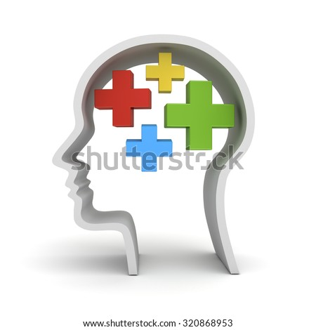 Colorful plus signs in human head shape isolated over white background the positive thinking concept - stock photo