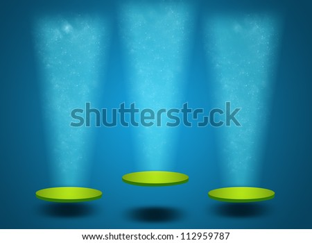 Colorful podium with glitter and shining lights - stock photo