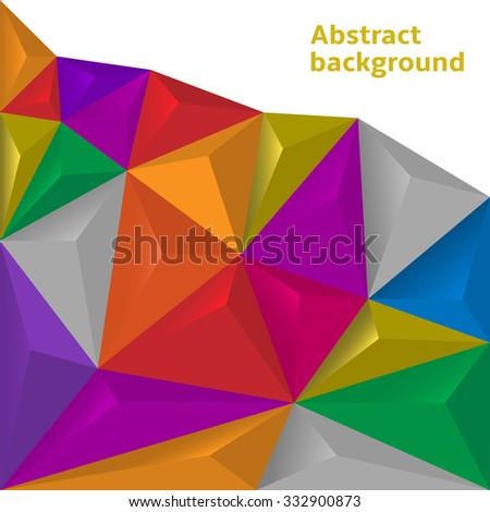 Colorful polygonal abstract background. Raster illustration - stock photo