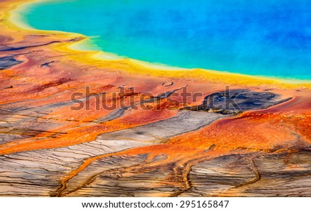 Colorful Pool at Yellow Stone National Park - stock photo