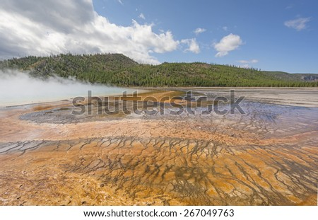 Colorful Pools of the Grand Prismatic Spring in the Midway Geyser Basin of Yellowstone National Park in Wyoming - stock photo
