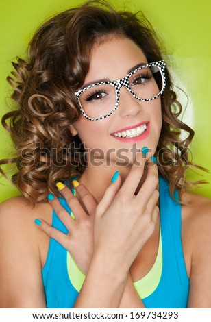 Colorful portrait of happy attractive young woman - stock photo