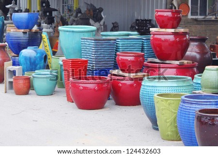 Colorful pots - stock photo