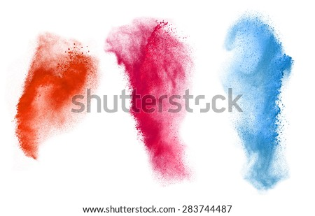 Colorful powder explosion set isolated on white background - stock photo