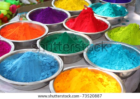 Colorful powder for sale on the festive occassion of Holi in India. - stock photo