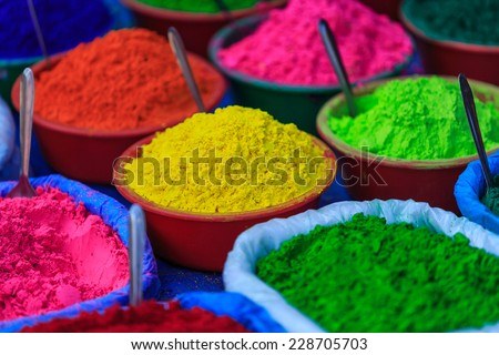 Colorful powder paints in a market in Nepal - stock photo