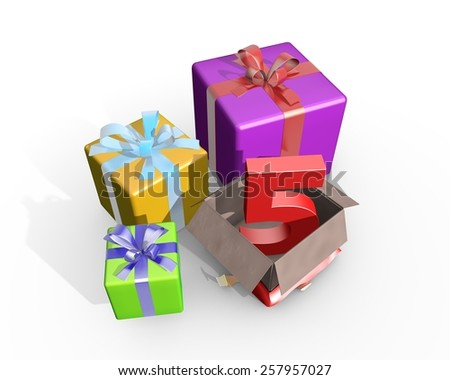 Colorful presents and in the unpacked box a three dimensional number 5 - stock photo
